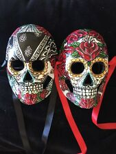 Red Sugar Skull Mask Man &Woman Day Of The Dead Roses Tattoo Pair Ooak Web 2016