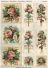 VINTAGE STYLE ROSE PINK PRECUT PAPER TOLE DIMENSIONAL GERMAN  ORNAMENT COLLAGE