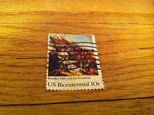 Vintage Bunker Hill 1775 by Trumbull Us Bicentennial 10 cent Cancelled Stamp old