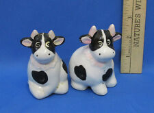 Ceramic Cow Salt Pepper Shakers Black White Light Pink Accents