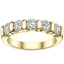 1.00 CT Channel Bars 5-Stone Diamond Wedding Ring in 14k Yellow Gold NEW