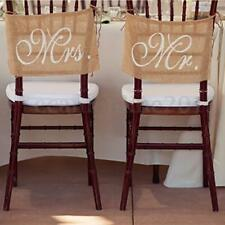 Mr & Mrs Rustic Hessian Burlap Chair Back Banner Wedding Decor Photography Signs