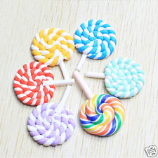 Novelty 2Pcs Rainbow Swirl Lollipop Candy Polymer Clay Flatback Cabochons Craft