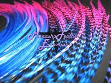 Feather extensions Eurohackle Tie-dye XXL Grizzly Solid Whiting Neon Pink Blues