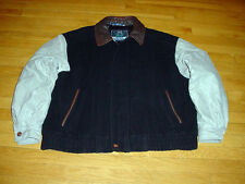 Members Only Mens Varsity Jacket Navy-Wool Khaki-Cotton Brown-Leather XL Sharp!