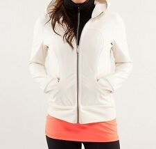 Lululemon Athletica Uba Hoodie. Windbreaker. Cream/Black. Polyester/Spandex. 2