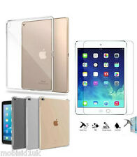Ultra Thin Clear TPU Gel Skin Case Cover+Tempered Glass For Apple iPad Air &Air2