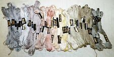 LOT OF 43 DMC NEW EMBROIDERY NEEDLEPOINT THREAD FLOSS SKEINS PALE GRAY METALS