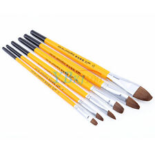 Fine 6Pcs Wolf Hair Watercolor Oil Acrylic Artist Painting Brushes Filbert Style