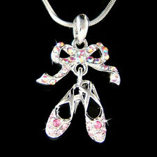 Pink w Swarovski Crystal ~BALLERINA Slippers Ballet Dance Shoes Jewelry Necklace