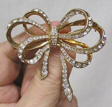 Vintage Jewelry Kenneth Lane Brooch Gorgeous Bow Pave Rhines Goldtone