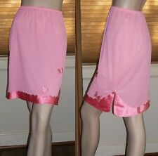 Vanity Fair Small Half Slip 2 Tone Pink Butterfly Appliques