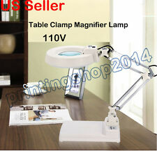 10x Loupes Glass Lens Diopter Desk Table Clamp Magnifier Lamp Light 110V