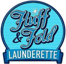 Vintage Retro Fluff Fold Launderette Metal Sign Unique Laundry Room Decor RPC101
