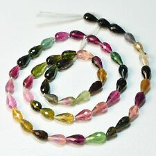 Gem Tourmaline Faceted Center-Drilled Teardrop Beads 16.5inch Strand