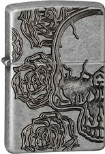 "Zippo ""Skull & Rose"" Deep Carved Antique Silver Plate Lighter, Armor, 28988"