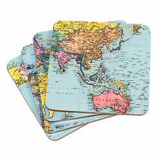 Set of 4 Drinks Coasters Blue Map Globe Atlas Protector Desk Table Coffee Cup