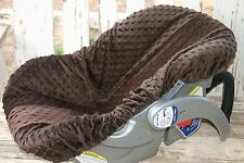 brown minky infant car seat base cover only