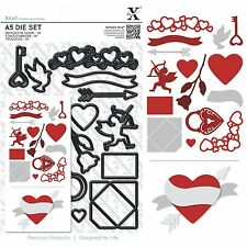 DOCRAFTS XCUT A5 DIE SET LOVE ICONS VALENTINES DAY CUPID HEARTS ROSE KEY BORDER