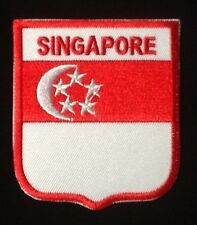 SINGAPORE SINGAPOREAN NATIONAL COUNTRY FLAG BADGE IRON SEW ON PATCH CREST SHIELD