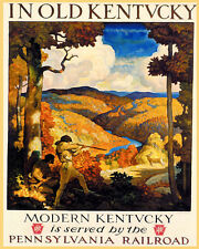 OLD KENTUCKY DEER HUNTING FALL FOLIAGE USA 8X10 VINTAGE POSTER REPRO FREE S/H