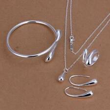 925 Sterling silver Plated Fashion Drop Ring Earring Necklace Bangle Set S222