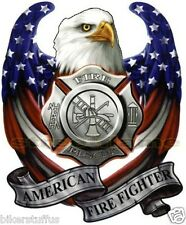 AMERICAN USA FLAG EAGLE AMERICAN FIRE FIGHTER STICKER BUMPER STICKER CAR STICKER