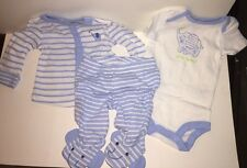 FIRST MOMENTS Boys' 3-pc.Layette Set BLUE/WHITE ELEPHANT Jumpsuit,Top & Pant NWT
