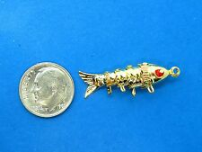 Vintage gold JAPANESE MOVABLE ARTICULATED FLEXIBLE KOI FISH BRACELET charm #3