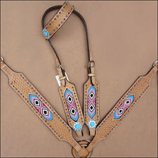 WESTERN LEATHER HORSE BRIDLE HEADSTALL BREAST COLLAR TAN TURQUOISE PINK BEADED