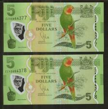 FIJI ISLANDS NEW ISSUE $5 2PCS R/N **ZZA** REPLACEMENT BANKNOTE **UNC**