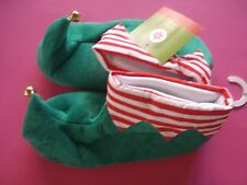 WOMENS HOLIDAY SANTA ELF SLIPPERS JINGLE BELLS SMALL NEW