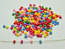 1000 Mixed Bright Candy Color 4mm Round Wood Beads~Wooden seed beads