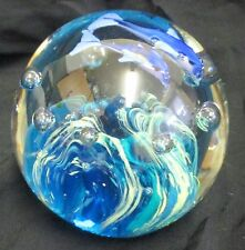 Vintage Art Glass Dolphins Swimming Controlled Bubbles Paperweight