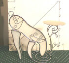 Reindeer Drinking Water,Stained Art Glass & Metal Candle Holder, Collectible