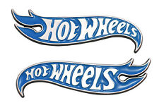 2x Hot Wheels Fender Emblems for Mustang Camaro 2010-2015 Jeep Chevrolet Blue
