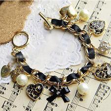 Bijoux Bracelet Noeud Papillon& Strass Coeur Perle Deco Chaine Femme Cadeau