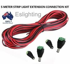 5 METER 12V STRIP LIGHT POWER CONNECTION LEAD EXTENSION CABLE CONNECTORS WIRE