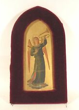 GASPARE DIOMEDE CARLO DELLA BRUNA ICON TRUMPETING ANGEL OIL PAINTING 1800s ITALY