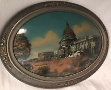 Antique 1916 Oval Wood Framed Dome Bubble Glass Painted Picture US Capital Bldg