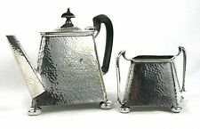 Antique Arts & Crafts Silver Plated Teapot & Sugar Bowl Hammered Finish c.1900