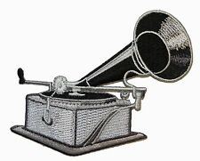 Music Themed Gramophone Record Player Embroidered Iron On Applique Patch