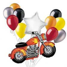 Motorcycle Balloon Bouquet Set Silver Birthday Harley Hog Party Decoration 12pc