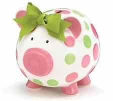Pink & Green Polka Dots Ceramic Piggy Coin Bank