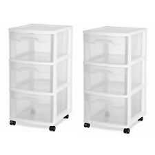 3 Drawer Organizer Rolling Storage Cart Bin Plastic Cabinet Box Container Set 2