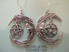 STERLING/TIBETAN SILVER MOTHER MOON & PENTAGRAM EARRINGS GIFT BAG WICCAN PAGAN