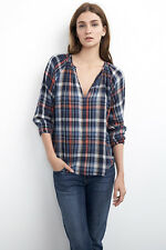 NWT VELVET BY GRAHAM SPENCER SzXS FRAN 3/4 DOUBLE FACE PLAID POPOVER IN BLUE
