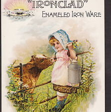 Nelly Bly Brooklyn Iron Clad Enameled Kitchen Ware Milk Can Cow Advertising Card