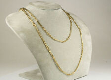 "Vintage Handmade 18K Yellow Gold Fancy Links Chain Necklace Large 40"" Solid"