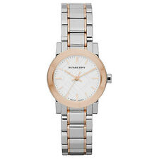Authentic Burberry White Dial Rose Gold Ion-plated Bezel Ladies Watch BU9205